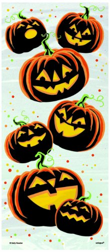 Unique Party 40780 - Cellophane Pumpkin Grin Halloween Party Bags, Pack of 20 from Unique Party