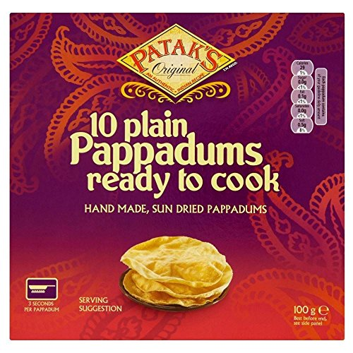 Patak's Plain Ready to Cook Pappadums (10 per pack - 100g) - Pack of 2 from Patak's