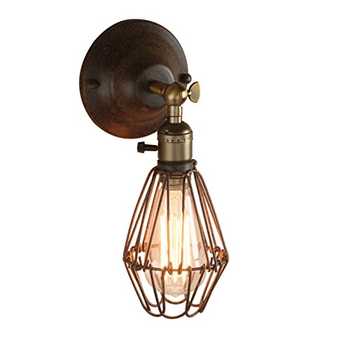 Pathson 3.9 Inch Industrial Retro Cage Metal Shade Retro Sconce Wall Light Fixture from Pathson