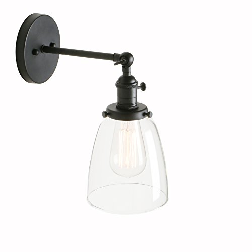 "Pathson Industrial Vintage Modern Wall Light Fittings Loft Bar Kitchen Sconce Wall Lamp Light Fixture with 5.5"" Clear Glass Lampshade E27 (Black) from Pathson"