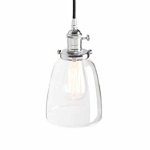 Pathson 14cm Vintage Glass Bell Shade Retro Industrial Hanging Pendant Ceiling Light Fixture (Chrome) from Pathson