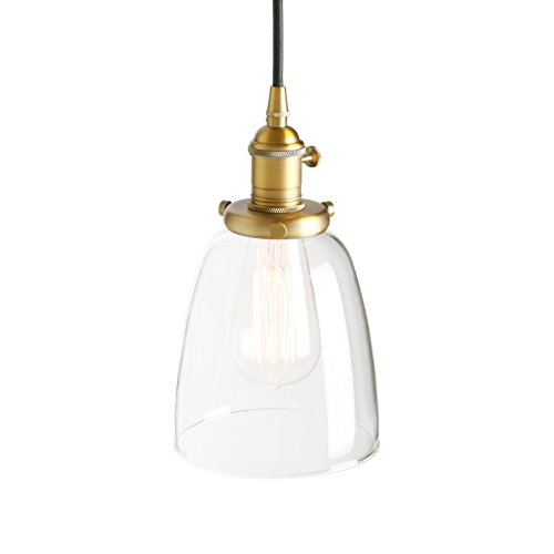 Pathson Industrial Vintage Modern Edison Hanging Pendant Ceiling Light Fixture Loft Bar Kitchen Chandelier Decorative Lighting with Bell Clear Glass Light Shade E27 (Antique) from Pathson
