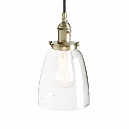Pathson 14cm Vintage Glass Bell Shade Retro Industrial Hanging Pendant Ceiling Light Fixture (Bronze) from Pathson