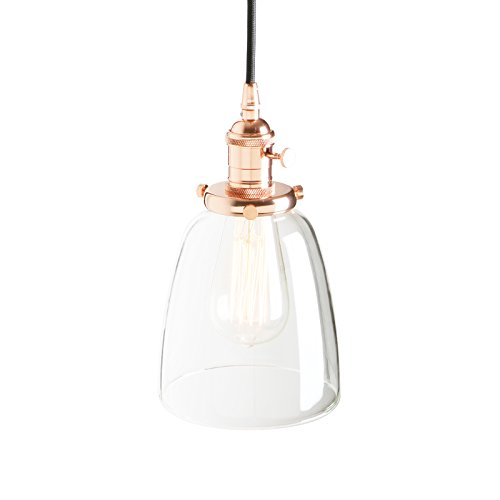 Pathson 14cm Vintage Glass Bell Shade Retro Industrial Hanging Pendant Ceiling Light Fixture (Copper) from Pathson