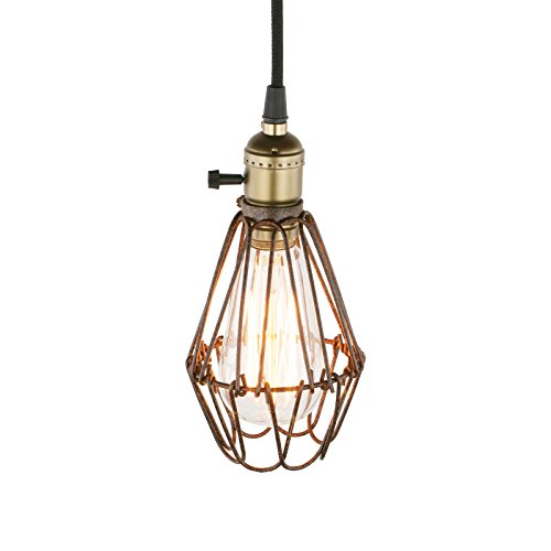 Pathson Industrial Retro Metal Cage Loft Bar Hanging Ceiling Pendant Light Fixture (Antique) from Pathson