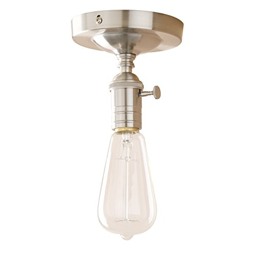 Pathson Industrial Retro Lamp Holder Light Fitting Flush Mount Ceiling Pendant Light Sconce Wall Light Lamp (Brushed) from Pathson