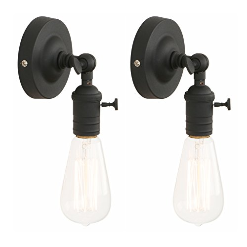 Pathson Set of 2 Industrial Vintage Metal Wall Sconce Lamp Edison Light Fixture (Black) from Pathson