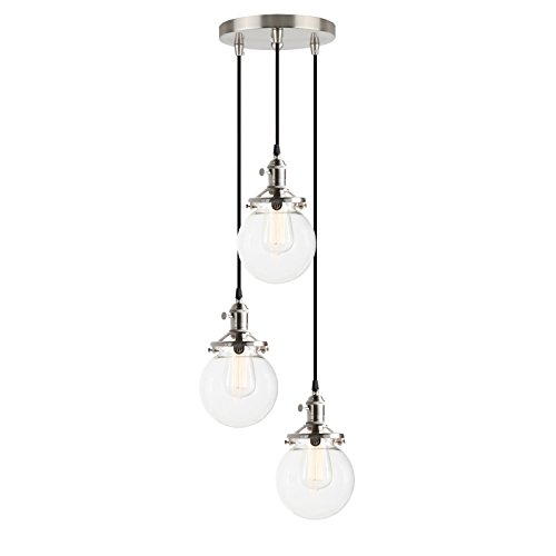 Pathson Industrial Modern Vintage Loft Bar Edison Ceiling Pendant Lights Fitting Cluster Multi-lights Switch Chandelier Glass Globe Lampshade 3 Lights Hanging Light Fixture for Island Living Room Dining Room Bedroom Office E27 (Brushed) from Pathson