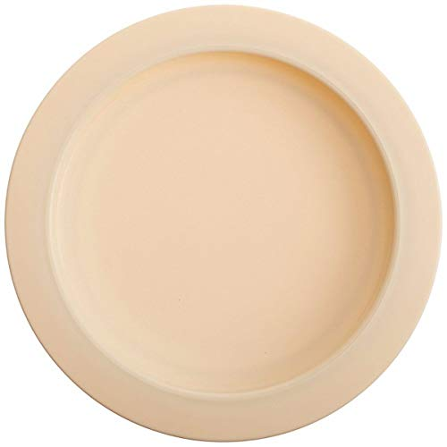 "Sammons Preston Plate with Inside Edge, 9"" Plate with Food Spill Prevention Aid, Durable Plates with Inner Lip, Eating Support for Children, Adults, Elderly and Disabled, Polypropylene, Off-White from Patterson Medical"