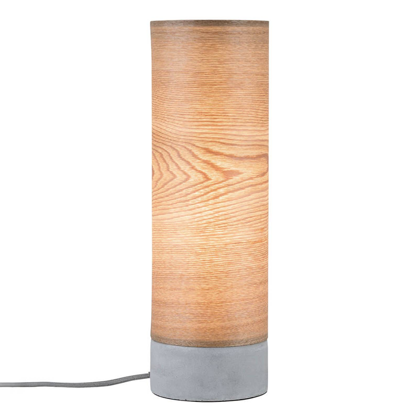 Cylindrical wood table lamp Skadi- concrete base from Paulmann