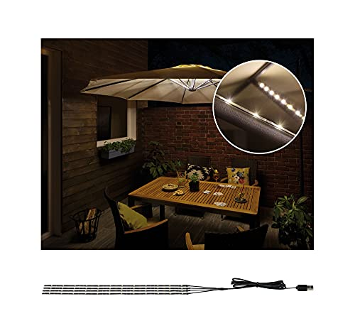 Paulmann 942.08 Outdoor Mobile Parasol-Lighting IP44 3000K 4X 0.4m Parasol Light Strip LED Stripes 94208 from Paulmann
