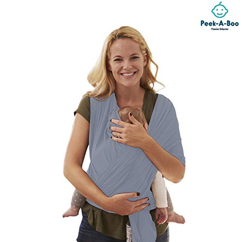 Peek-A-Boo | Premium Baby Wrap Carrier Adjustable Breastfeeding Cover Cotton Sling Baby Carrier for Infants up to 35 lbs/16kg, Soft and Comfortable | One Size Fits All | Cozy & Soothing For Babies | Suitable for Newborns, Infants & Toddlers | Premium Cotton/Spandex Comfort Fabric |100% Guarantee | Ideal Gift I SOLID GREY | from Peak-A-Boo