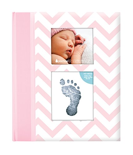 Pearhead First 5 Years Chevron Baby Memory Book with Included Clean-Touch Baby Safe Ink Pad to Create Baby's Handprint or Footprint, Keepsake Milestone Journal, Beautiful Gift for Any New Mum, Pink from Pearhead