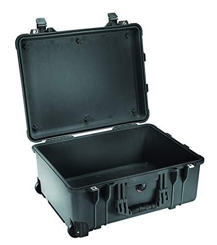PELI 1560 Protective Hard Case With Wheels, IP67 Watertight and Dustproof, 71L Capacity, Made in Germany, No Foam, Black from Peli