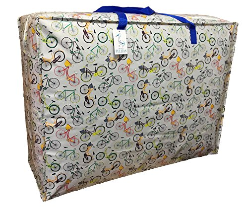Top Quality EXTRA Large 115 liter Storage bag. Grey with Bicycles Print. Strong and durable zipped bag. from Pelican