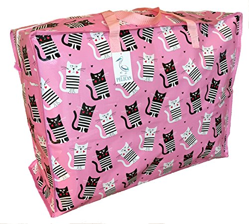 Top Quality Large 65 litre Storage bag. Pink with black & white Cats Pattern. Strong and durable zipped bag. from Pelican