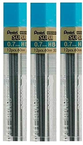 Pentel 0.7mm Size HB Shade Hardness Pencil Refill Replacement Spare Leads Hi Pollymer Super For Automatic & Mechanical Pencils (Pack Of 3 Tubes - 36 Pieces) from Pentel