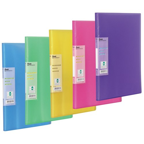 Display Book Vivid, 30 pockets, A4 size, Pack of 5 assorted coloured folders (Colour mix may vary from image shown) from Pentel