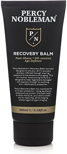 Recovery Balm by Percy Nobleman. Aftershave Balm. Post Shave. Oil Control Moisturiser for Men 100ml, Black from Percy Nobleman