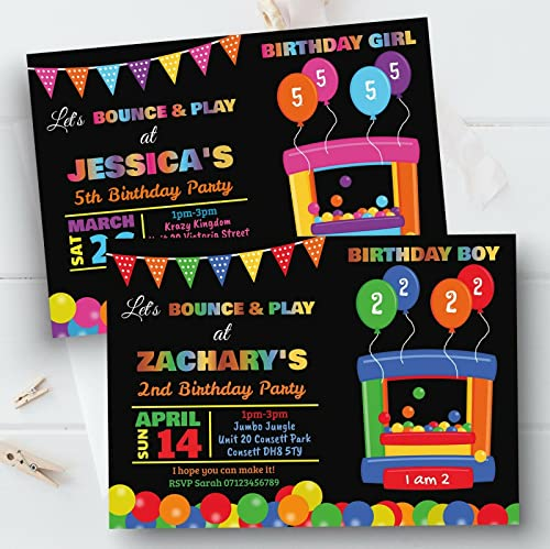 10 Personalised Kids Bouncy Castle Boy Girl Birthday Party Invitations Invites from Personal Moments