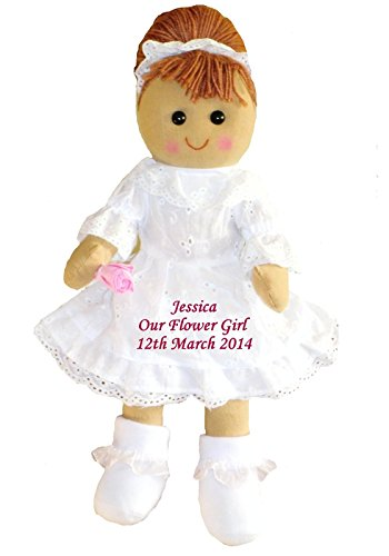 Personalised Rag Doll Bridesmaid or Flower Girl Wedding Dolly Gift Favour from Personalised Bears and Rag Dolls