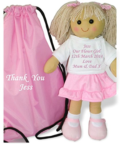 Personalised Rag Doll Flower Girl Bridesmaid Wedding Favour Gift and Bag from Personalised Bears and Rag Dolls