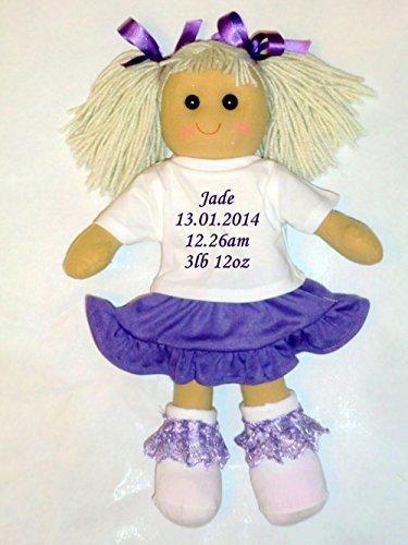 Personalised Rag Doll New Born Baby Girl Gift - Embroidered 40cm Doll from Personalised Bears and Rag Dolls