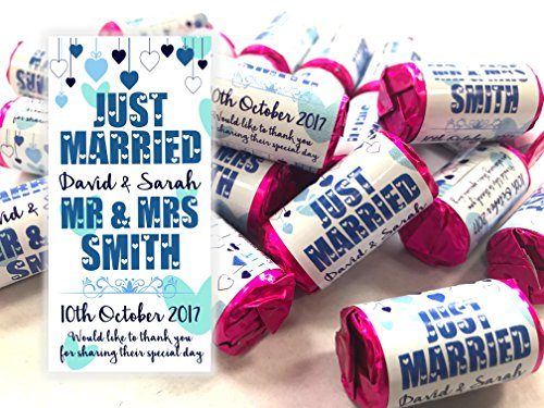 Personalised Mini Love Hearts Wedding Favours Just Married for Guests Gift Thank You Table Favours. Each roll Contains 7 Individual Sweets Suitable for Vegetarians (80) from Personalised with Care
