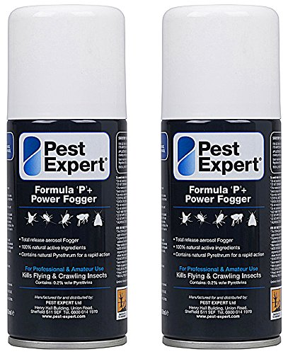 Clothes Moth Killer Fogger 2 x 150ml- Formula 'P+' Moth Fumigator from Pest Expert (HSE approved and tested - professional strength product) from Pest Expert