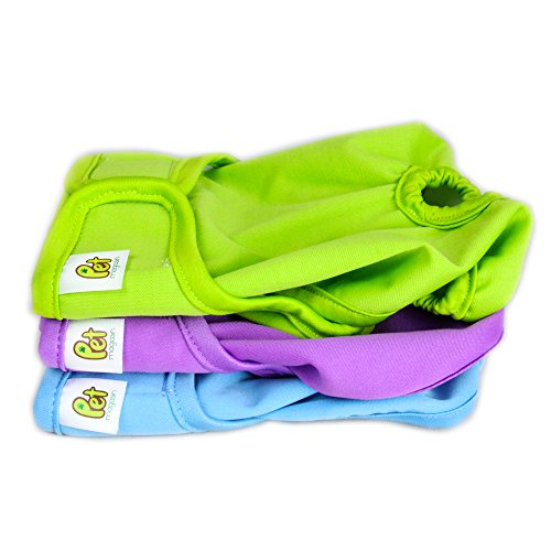 Reusable Dog Nappies - Sanitary Pet Diapers, Highly Absorbent, Machine Washable & Eco-Friendly, 3-Pack, Solid, Medium from PET MAGASIN