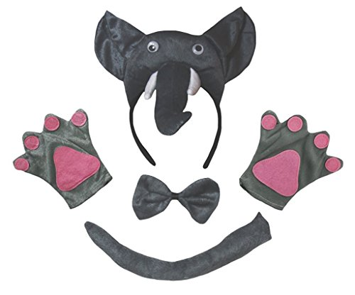 Petitebelle 3D Elephant Headband Bowtie Tail Gloves Children 4pc Costume (One Size) from Petitebelle