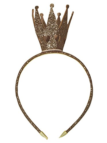 Petitebelle Bling Glitter Crown Headband Clothing Accessory for Girl (One Size, Gold) from Petitebelle