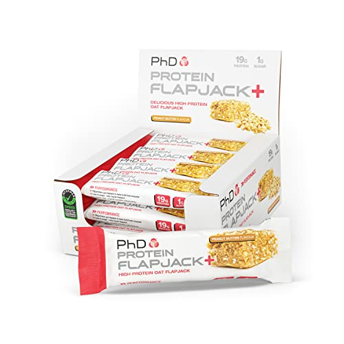 PhD Nutrition High Protein Flapjack+ Bars, Peanut Butter, 75 g, Pack of 12 from PhD