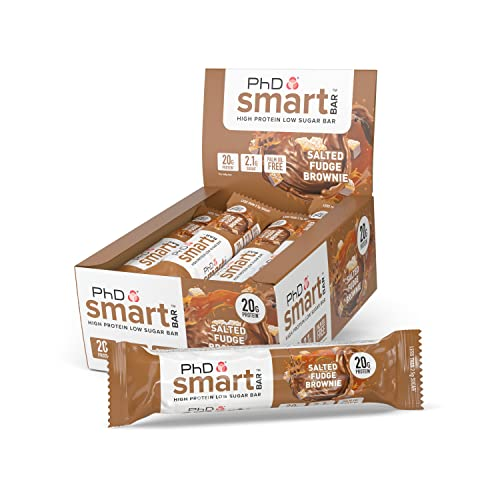 PhD PhD Smart Bar-High Protein Low Sugar Bar, Salted Fudge Brownie, 64 g, Pack of 12 from PhD