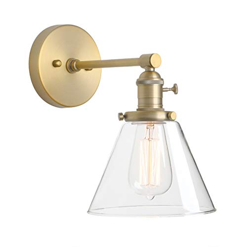 Phansthy Edison Industrial Wall Light, E27 Vintage Glass Wall Lamp with Switch, Brass Finish Wall Lighting Fixtures Suitable for Living Room, Bathroom, Hallways, Kitchen(Antique) from Phansthy
