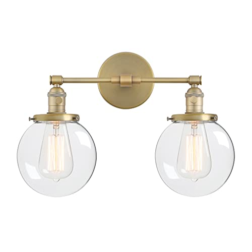 Phansthy Vintage Wall Light Fixtures with Globe Glass Shade 2 Lights Wall Sconces Lighting Switched Indoor Rustic Wall Lamps for Living Room Bathroom Vanity Mirror (Antique) from Phansthy