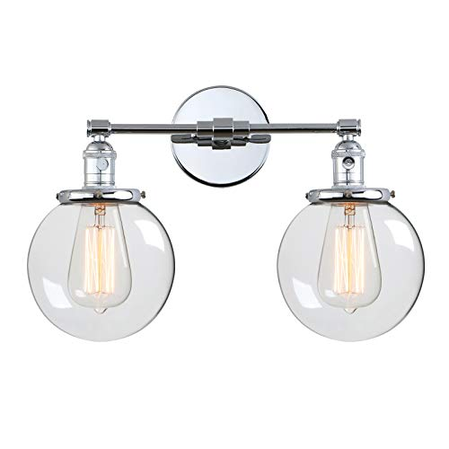Phansthy Vintage Wall Light Fixtures with Globe Glass Shade 2 Lights Wall Sconces Lighting Switched Indoor Rustic Wall Lamps for Living Room Bathroom Vanity Mirror (Chrome) from Phansthy