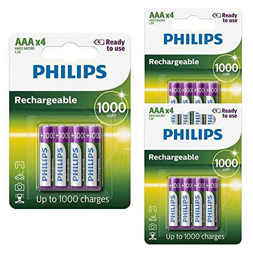 12 x PHILIPS RECHARGEABLE 1000mAh AAA HR03 1.2V BATTERIES from Philips