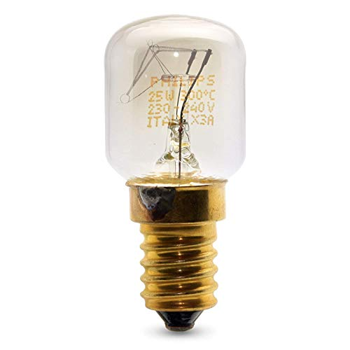 2 x PHILIPS 25w SES E14 Small Screw Cap Pygmy Lamps >300 Degree C Microwave / Oven Rated Light Bulbs Pack from Philips