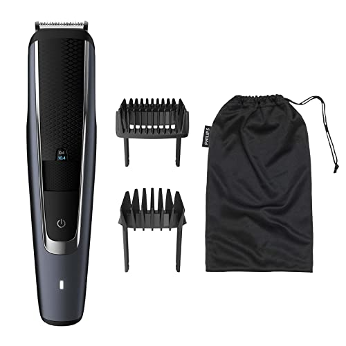 Philips Beard & Stubble Trimmer/Hair Clipper for Men, Series 5000, 40 Length Settings, Self-Sharpening Metal Blades, UK 3-Pin Plug - BT5502/13 from Philips