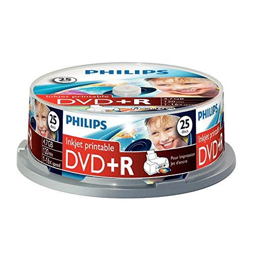 Philips DVD + R 4.7GB DATA/120 min Video, 16X High-Speed, Spindle Inkjet Printable Spindle of 25 from Philips