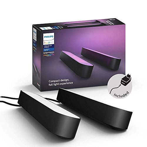 Philips Hue Play White and Colour Ambiance Smart Light Bar Double Pack Base Unit, Entertainment Lighting for TV and Gaming (Works with Alexa, Google Assistant and Apple HomeKit), Black from Philips Hue