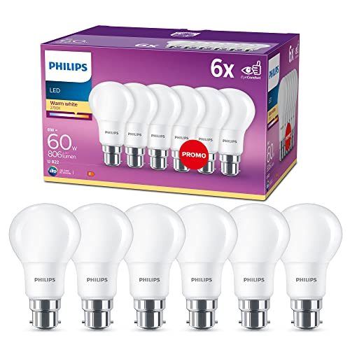 Philips LED B22 Frosted Light Bulbs, 8 W (60 W) - Warm White, Pack of 6 from Philips