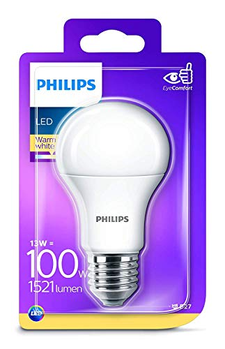 Philips LED E27 Edison Screw Light Bulb, Frosted, 13 W (100 W) - Warm White from Philips