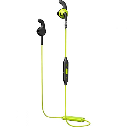 Philips SHQ6500CL ActionFit In-Ear Bluetooth Sports Headphone with Mic (Earbuds, Anti-Slip Caps, Integrated Remote) - Green/Black from Philips