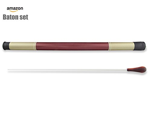PhysCool Professional Wood Handle Band Orchestra Conducting Baton with Baton Case Protector (Official Length 15 Inch from PhysCool