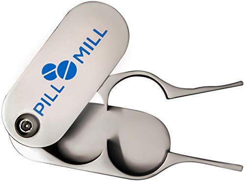 Pill Cutter Splitter by Pill Mill - Metal Blades That Will Never Dull - Grip Handle Helps to Cut Small or Large Pills with Ease - Light and Durable Tablet Divider - Perfect Medicine Slicer for Travel from Pill Mill