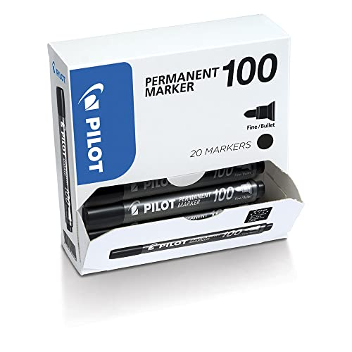 Pilot 100 Series, 4.5mm Bullet Tip Permanent Marker- Black (Box of 20) from Pilot