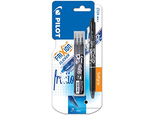 Pilot Frixion Clicker Erasable Retractable Rollerball 0.7 mm Tip Pen with Three Refills - Black, Single Pen from Pilot