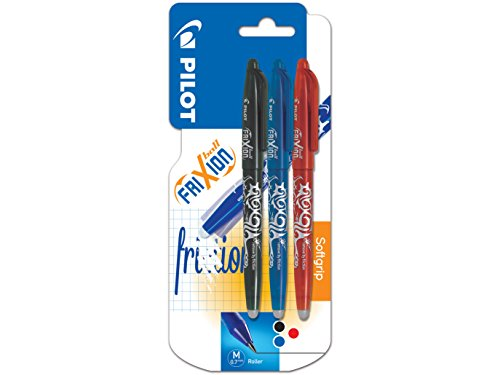 Pilot Frixion Erasable Rollerball 0.7 mm Tip - Black/Red/Blue, Pack of 3 from Pilot